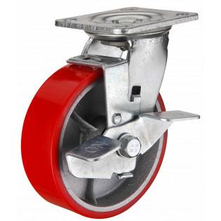 Промышленное колесо КБТ-125 PU с тормозом