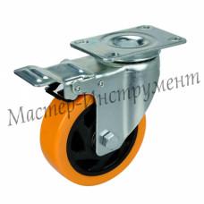 Колесо большегрузное полиуретановое поворотное с тормозом (Medium) 100 мм