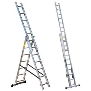 Лестница трехсекционная 3*18 ПРОФИ Мастер-инструмент