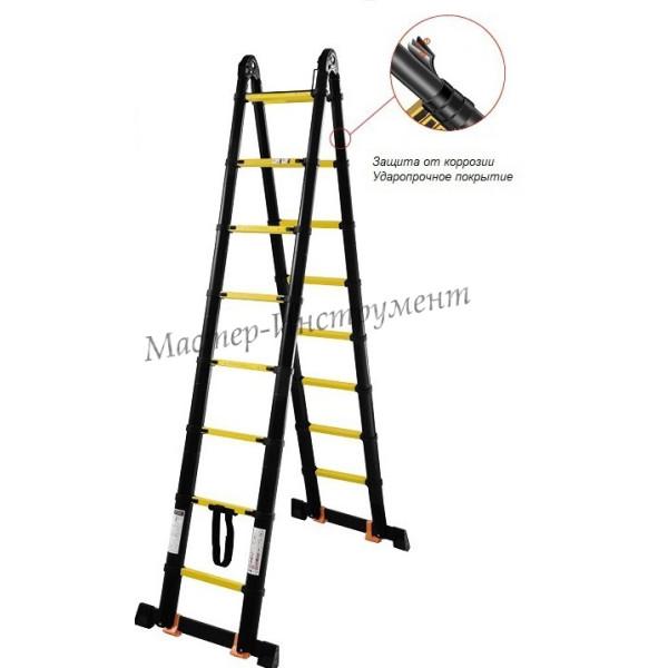 Лестница-стремянка телескопическая МИ ПРОФИ 2.5м/5м 8ступ.