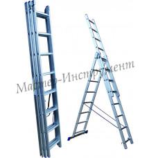 Алюминиевая лестница трехсекционная 9 ступеней (СТАНДАРТ)