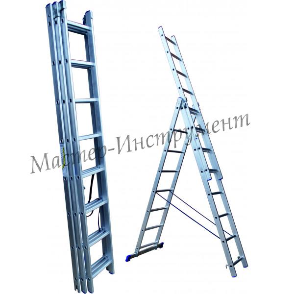 Алюминиевая лестница трехсекционная 15 ступеней (СТАНДАРТ)