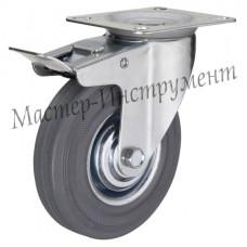 SCGB 25 Колесо аппаратное серая резина поворотное с тормозом 50 мм