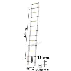 Лестница телескопическая МИ 4.4м 15ступ.