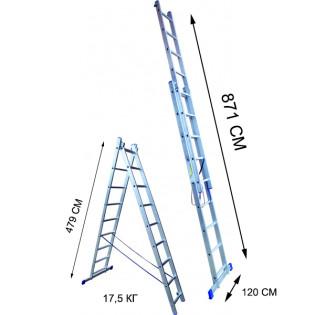 Лестница 17 ступеней двухсекционная (СТАНДАРТ)