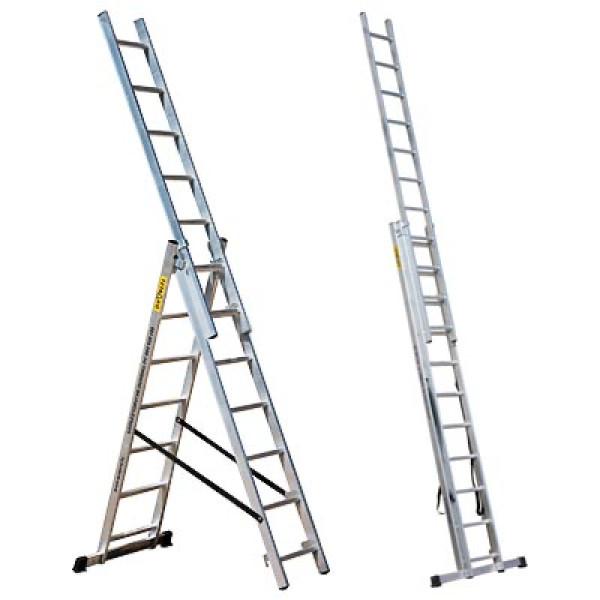 Лестница трехсекционная 3*9 ПРОФИ Мастер-инструмент