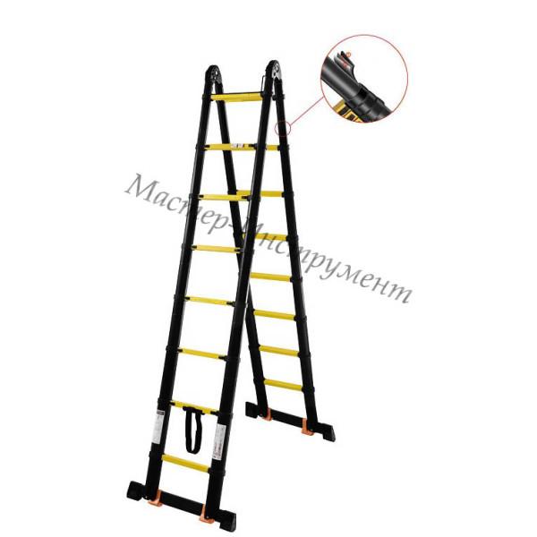 Лестница-стремянка телескопическая МИ ПРОФИ 3.2м/6.4м 9ступ