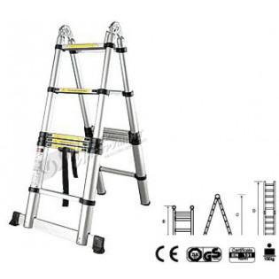 Лестница-стремянка телескопич. МИ 2.8м/5.6м 9 ступ